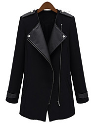 Women's Lapel Shoulder Pad Long Coat
