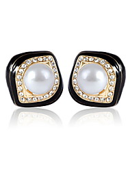 Elegant Alloy Gold & Immitation Pearl Women's Earrings