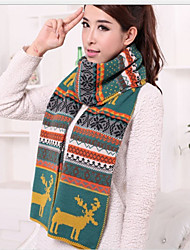 BY Warm Reindeer Pattern Knitting Scarf(Yellow And Green)