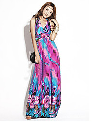 Women's V Neck Tulip Colorful Beach Dress Random Pattern