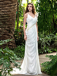 LAN TING BRIDE Sheath / Column Wedding Dress Beautiful Back Court Train V-neck Chiffon with Criss-Cross Beading Bow