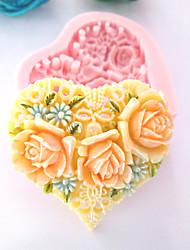 Molde do coração 3D Flores Silicone Fondant Moldes Sugar Craft Moldes de chocolate para bolos