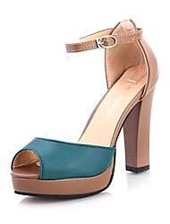 Spring Summer Fall Platform Leatherette Dress Casual Chunky Heel Platform Green Ivory