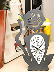 "14 ""H Country Style Black Cat Type de fer à repasser de table Horloge"