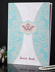 Duplo Swan Wedding Guest Book com strass