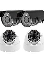 CCTV CMOS 540TVL IR 36IR Leds Night Vision Outdoor Bullet Camera 2PCS + Intdoor Dome Camera 2PCS