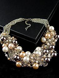 Elegant Imitation Pearl Bib Necklace