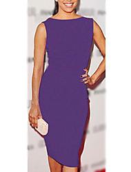 Púrpura vestido sin mangas de cuello redondo de S & Z Mujer