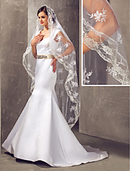Wedding Veil One-tier Fingertip Veils Lace Applique Edge Tulle White A-line, Ball Gown, Princess, Sheath/ Column, Trumpet/ Mermaid