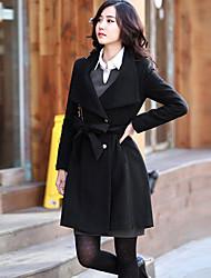 Amisz One Women's Stand Neck Big Lapel Long Sleeve Pure Long Coat Black