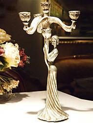 """15""""H Antique Style Beautiful Woman Candlestick Polyresin Candle Holder"""