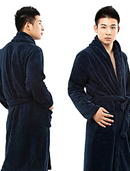 Bath Robe,High-class Yellow Dark Blue Solid Colour Garment Thicken - One Size to Fit All