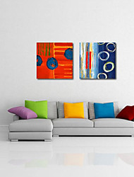Stretched Canvas Print Art Abstract Blue Bubbles Set of 2