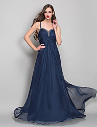 Formal Evening / Military Ball Dress - Dark Navy Plus Sizes / Petite Sheath/Column Spaghetti Straps Asymmetrical Chiffon