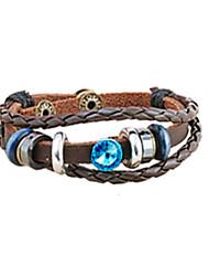Xingdi Vintage Couple Leather Bracelet(Blue)