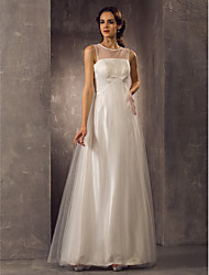 Lanting Bride® A-line Petite / Plus Sizes Wedding Dress - Classic & Timeless / Elegant & Luxurious Floor-length Scoop Tulle with