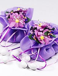 Gasa del favor bolsa con la flor y la cinta Bicolourable - Conjunto de 12 (más colores)