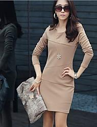 Noir Haute Qualité YGR femmes robe à manches longues ajusté