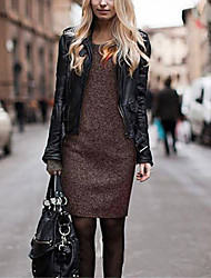 Women's Solid Brown Dress , Work Round Neck Long Sleeve