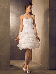 Lanting Bride A-line / Princess Petite / Plus Sizes Wedding Dress-Knee-length Sweetheart Lace / Organza