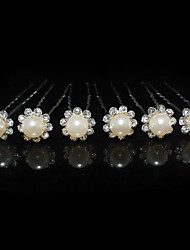 Beautiful Six Pieces Alloy Wedding Bridal Hairpins With Rhinestones And Imitation Pearls