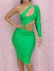 Women's Club Sexy Bodycon Dress,Solid One Shoulder Mini Green Polyester Summer