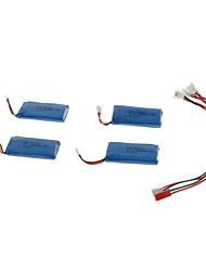 4pcs 3.7V 500mAh Li-Poly Battery & Charger Conversion Wire (WltoysV202/V939/V252 etc)