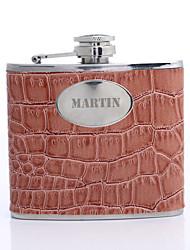 Laranja presente personalizado 5 oz PU Leather Capital Letters Flask