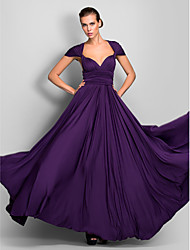 Formal Evening / Military Ball Dress - Convertible Dress A-line One Shoulder / Strapless / V-neck Floor-length Jersey with
