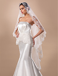 Nice One-tier Fingertip Wedding Veil With Applique Edge(More Colors)