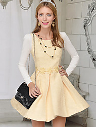 Women's Yellow Dress , Casual Long Sleeve
