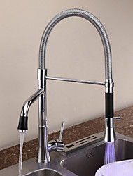 Contemporary Chrome One Hole Single Handle Pullout Spray Deck Mounted Kitchen Faucet with Color Changing LED Light