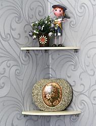 Contemporary Beige Wood Hanging Corner Shelf (1 Piece)