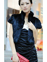 Short Sleeve Standing Collar Rabbit Fur Casual/Party Jacket(More Colors)