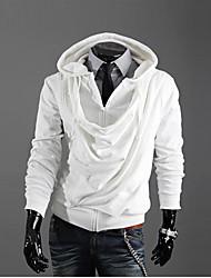 Tops Moda com capuz Zipper dos homens KICAI (branco)