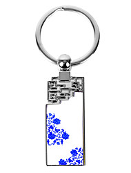 Personalized Rectangle Floral Asian Style Keychain