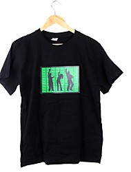 Black Music Activated DJ Light up and down Flashing Stripe Equalizer LED T-shirt