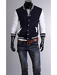 ZBN Men's Contrast Color Slimming Baseball Jacket(Navy Blue)