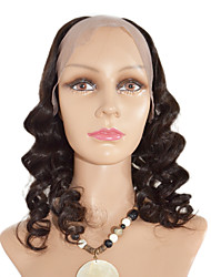 16inch Body Wave Middle Part Brazilian Virgin Human hair Natural Black dyeable U Part Wig
