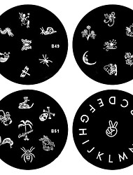 4PCS Nail Art Stamp Stamping Image Template Plate B Series(NO.49-52)