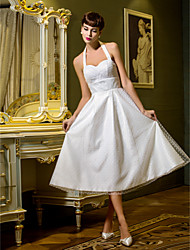 LAN TING BRIDE A-line Princess Wedding Dress Little White Dress Tea-length Halter Tulle with Draped