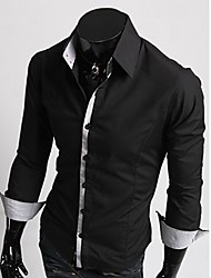 Men's Casual Shirt,Polyester Long Sleeve Black / Red / White / Gray