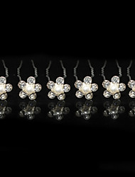Damen Strass Legierung Künstliche Perle Kopfschmuck-Hochzeit Besondere Anlässe Haarklammer 6 Stück