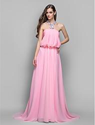 Vestido - Rosa Festa Formal/Baile Militar Linha-A/Princesa V profundo Sweep / Brush Train Chiffon Tamanhos Grandes
