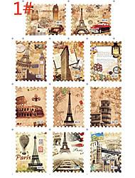 1PCS 11-Padrão de Selos Sery Água Transferência de Impressão Nail Sticker Local de Interesse Histórico
