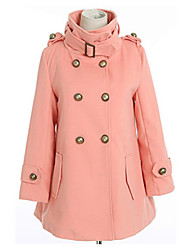 Women's Pink/White/Yellow Coat , Casual Long Sleeve Others