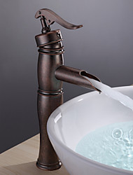 Bathroom Sink Faucet with Vintage Centerset Antique Copper Finish Single Handle Brass Faucet