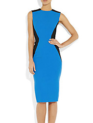 Meiyishen Damen Blue Taille Split Joint dünnes Kleid