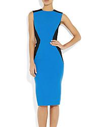 Meiyishen Женская Голубой Талия Сплит Совместное Тонкий платье