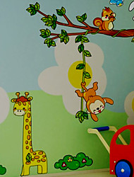 Happy Monkey Rabbit and Deer Wall Sticker